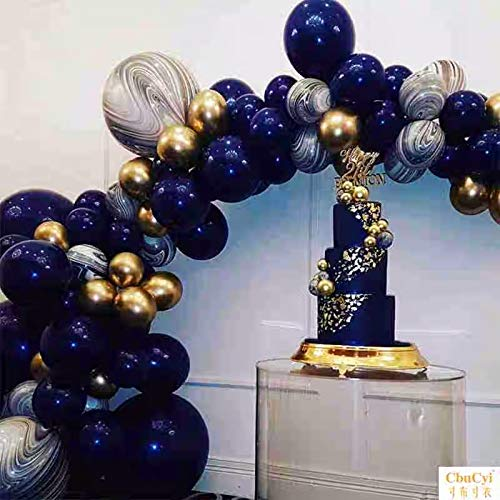 Pinbra Navy Blue Gold Balloons Garland kit 90 Metallic Party Balloons Latex Black Agate Marble Balloon Decoration kit for Baby shower Kids Adult Birthdays Party Decor