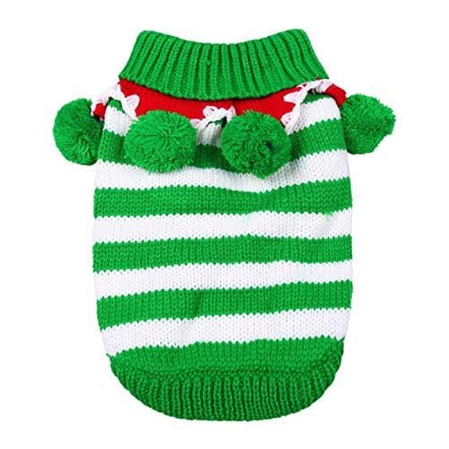 (Fanatical-Night Dog Clothes Autumn Winter Christmas Striped Warm Dog Pets Clothes Coat Cartoon Jacket)