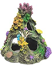 Coral Aquarium Decoration Fish Tank Resin Rock Mountain Cave Ornaments Betta Fish House for Sleep Rest Hide Play
