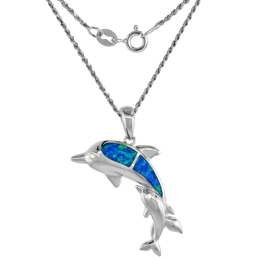Sterling Silver Lab Opal Mother /& Baby Dolphin Necklace in Blue /& Pink CZ Accent 1 1//8 inch Rope Chain