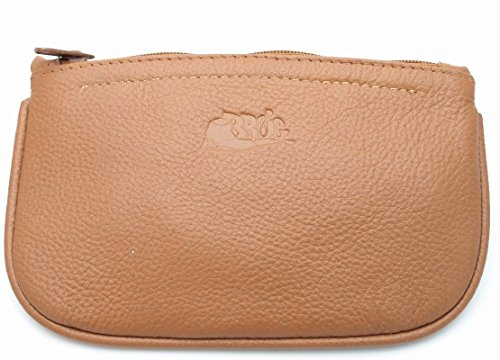 Zipper Tobacco Pouch (Regular Size Oval Tobacco Pouch - Authentic Full Grade Cow Leather - Tan)