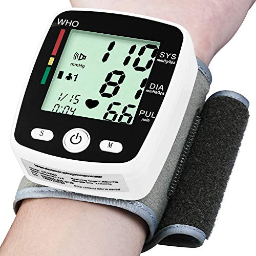 Wrist Blood Pressure Monitor Cuff Automatic FDA Approved BP Monitor Irregular Heart Beat Detection with Large Display Screen Support Charging Supply for Home Travel Use(5.3″-8.5″)