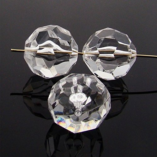 (CRYSTAL ACRYLIC 20mm. ROUND FACETED BEADS - Lot of 12 )