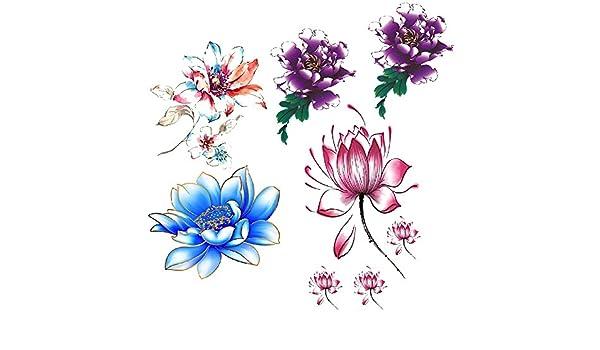 Evtech(tm) 3 Estilo colorido Flor Floral Flores Peony Purple Lotus ...