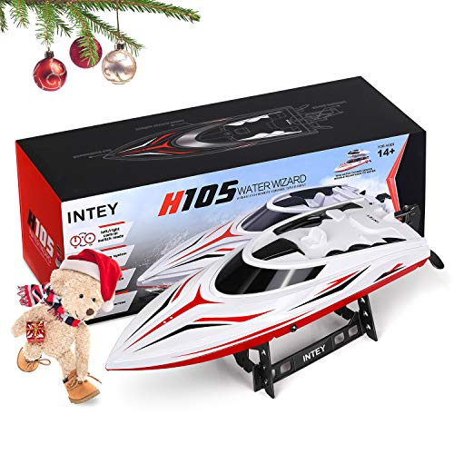 Speed Control Remote (INTEY RC Racing Boats (25miles+) 17 Inches Large Double Waterproof Remote Control Speed Boat with Fine Tuning Capsize Recovery for Kids and Adults Contain 2 Batteries)