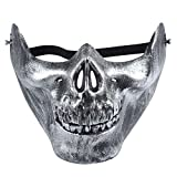 Smartcoco Halloween Masquerade Half-face Skull Plastic Mask Scary Childs Play Crazy Creepy Party Mask Halloween Costume Decoration
