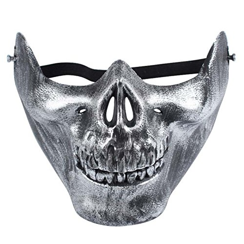 Smartcoco Halloween Masquerade Half-face Skull Plastic Mask Scary Child's Play Crazy Creepy Party Mask Halloween Costume Decoration
