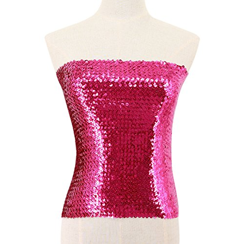 Mocure Women's Sexy Sequins Strapless Boob Tube Bandeau Top Shirt Stretch Lingerie Breast Wrap Padded Bra Tube ()