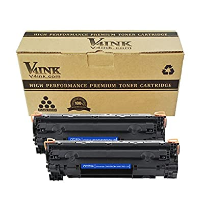 V4INK 1 Pack Replacement for CB436A, Canon 125 Black Toner Cartridge for use with HP LaserJet P1102w, HP M1212nf Printer