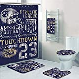 Bathroom 5 Piece Set shower curtain 3d print Multi Style,Sports,Retro American Football College Illustration Athletic Championship Apparel Decorative,Purple White Yellow,Bath Mat,Bathroom Carpet Rug,N