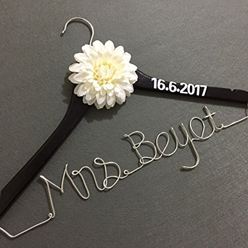 Custom Wedding Hanger with Date, Rustic Wedding Dress Hanger, Personalized Name Hanger Bridal Dress Hanger, Bridesmaid Gift