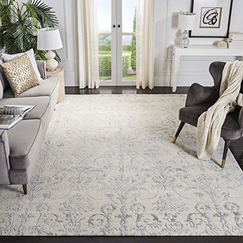 Safavieh Bella Collection BEL917A Ivory and Grey Premium Wool Viscose Area Rug 8 x 10