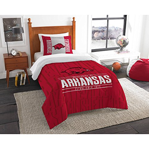 Northwest NCAA Arkansas Razorbacks Ultimate 10pc Ensemble: Includes twin comforter, sham, twin flat sheet, twin fitted sheet, pillowcase, rug, toss pillow, throw, and 2 curtain panels Arkansas Razorbacks Throw Pillow