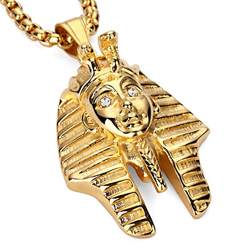 JAJAFOOK Egyptian Jewelry Pharaoh King Pendant Gold Chain Men Necklace