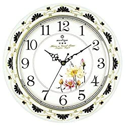 MGE UPS Systems Clock Wall Clock,Large Quiet and Retro 14 Inch Silent Quartz Wall Clock Decorative for Bedroom for Battery Operated Office (Color : White)