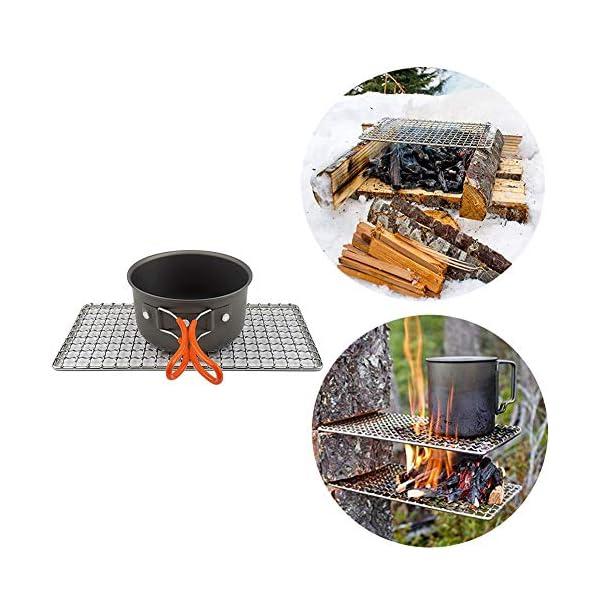 515vGPqQb%2BL 304 Edelstahl Grillnetz, Backblech, Grill Mesh Outdoor Camping Topfhalter, Mini Outdoor Grill, Camping Grill Gadgets…