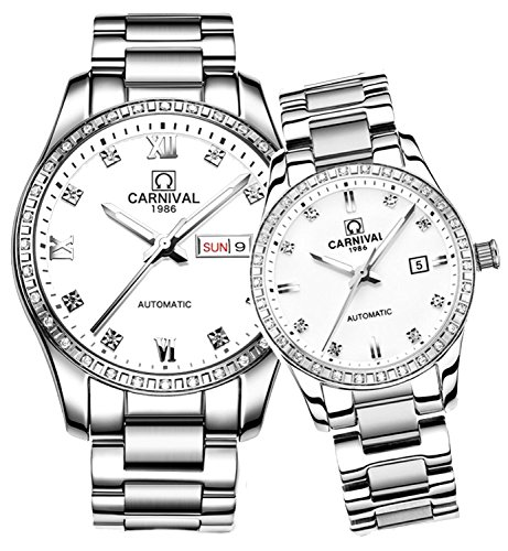 Couple Diamond Watches Automatic Stainless Steel Waterproof Swarovski Crystal Watch His and Hers of 2 (Silver White) (Womens Swarovski Crystal Automatic)