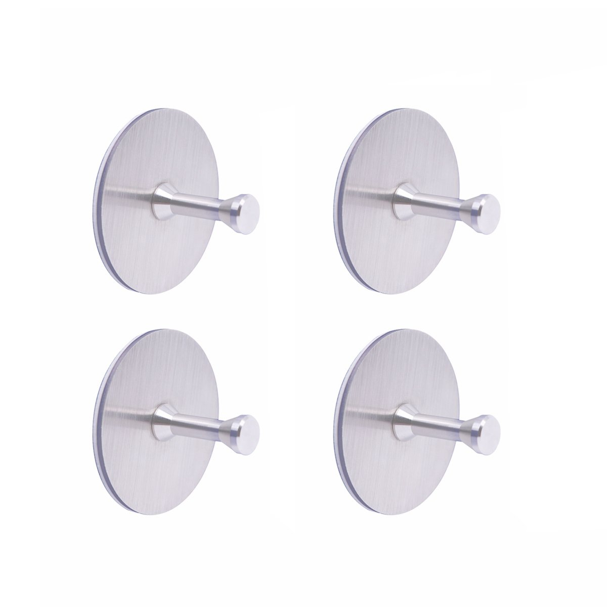 MOMO SZ Stainless Steel Hooks 3M Adhesive For Home Kitchen Bath Hang Tool(4pcs Round Hooks)