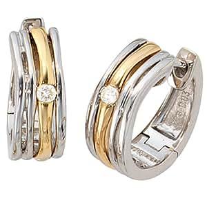 Pendientes - Pendientes de aro - / plata de ley -{925} - chapado en rodio con plata / - oro{585} combina - Diamant-brillantes -{2} 0,06 ct.