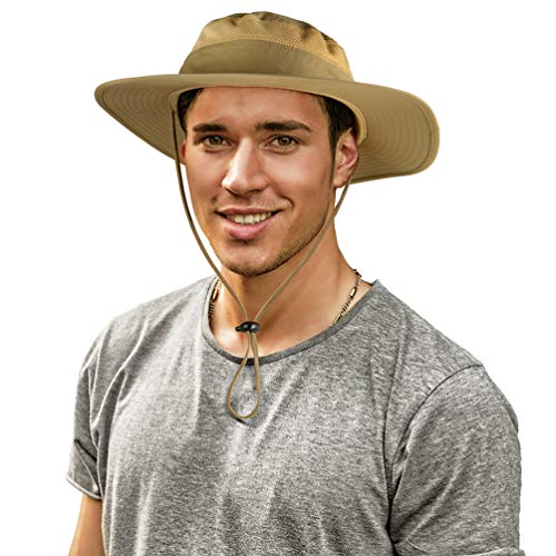 Cimkiz Sun Hats for Men and Women Fishing Hat UPF 50+ Sun Protection Breathable Boonie Hat Wide Brim Bucket Hat for Fishing Beach Hiking Gardening Hunting Travelling Golf New Upgraded - Khaki Golf New Hat