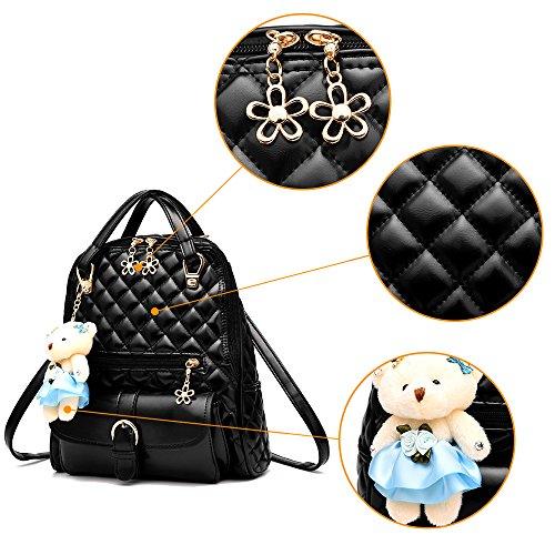 (JVP1031-P) bolso de las señoras mochila de cuero de LA PU rosa de gran capacidad bolsa de viaje de vuelta señoras 3 way bolso de hombro de la manera de moda suburbano ligero escuela Blanco, Blanca