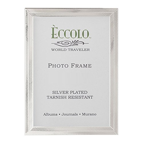 Silverplate Heart Box (Eccolo World Traveler Herringbone Silver Plated Frame, Holds a 5 x 7-Inch Photo)