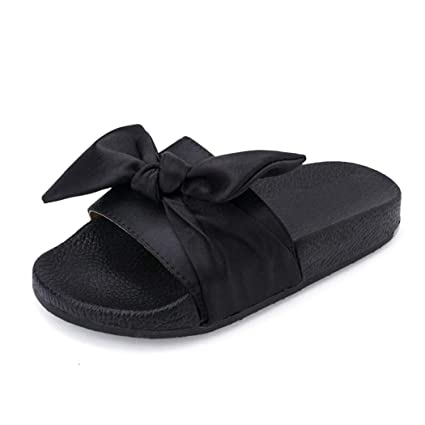 4bbbed310c24b4 Image Unavailable. Image not available for. Color  Summer Slippers Women  Big Bow Tie Flip Flops Women Beach Sexy Fenty Slides Non-Slip