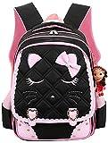 Efree Cute Cat Face Bow Diamond Bling Waterproof Pink School Backpack Girls Book Bag (Large, Black)