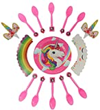 Unicorn Party Supplies | Cake & Cupcake Wrappers and Toppers Set for Kids Baby Shower Christmas Birthday Party Boys & Girls | Disposable Tableware Decoration Plates and Spoons