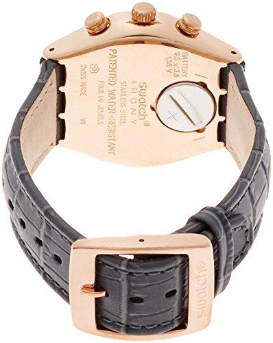 Swatch herr kronograf kvartsur med läderarmband YCG411