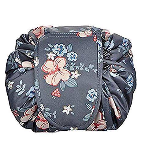 Drawstring Cosmetic Bag Travel Lazy Makeup Storage Bag Portable&Waterproof Quick Pack Large Cosmetic Bag Dual Magic Bags With Zipper&Drawstrings Brush Holder Carry On Travel (Dark Grey Flowers)