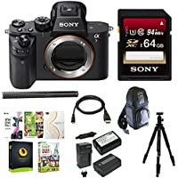 Sony Alpha a7RII Mirrorless Digital Camera (Body Only) w/ Sony 64GB Memory Card Condenser Microphone & Accessory Bundle
