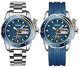 Jiusko Mens Deep Sea Analog Quartz Dive Watch Set - 300m Diver - Sapphire - Stainless Steel Bracelet and Blue Rubber Strap Set - Blue Dial - Big Day Date - 120LB08