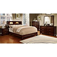 247SHOPATHOME Idf-7290CH-Q-6PC Bedroom-Furniture-Sets, Queen, Brown Cherry