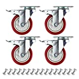 """4"""" Plate Caster Wheels Set of 4 1800LB with Screw"""