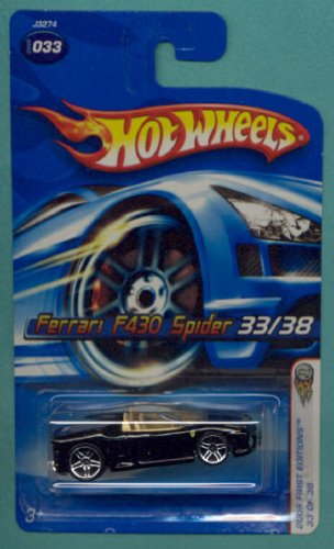 Mattel Hot Wheels 2006 First Editions 1:64 Scale Black Ferrari F430 Spider Die Cast Car #033