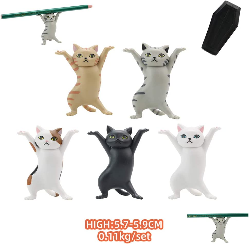 Dan/&Dre 5pcs//Set The Cat Coffin Dance Figures Dancing Cats and Pen Holders, Carrying Coffin Cat Support Frame Stationery Pen Holder,Funny Accessories Coffin Casket Playset