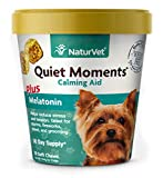 NaturVet - Quiet Moments Calming Aid for Dogs - Plus Melatonin - Helps Reduce Stress & Promote Relaxation - Great for Storms, Fireworks, Separation, Travel & Grooming - 70 Soft Chews