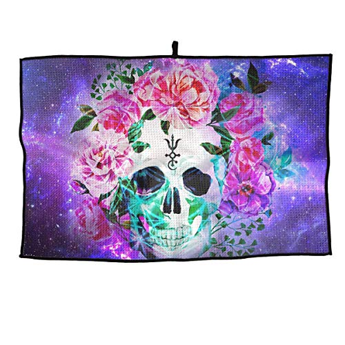 Jadetian Soft Microfiber Sports Golf Towel Spiritual Colourful Skull Ideal Quick Dry Towel - for Travel, Golf, Workout, Swimming, Gym Yoga, Camping, Fitness 24''15''