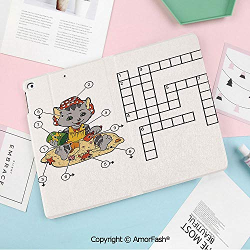 Case for Samsung GalaxyTab A 10.1 2016 T580 T585 PU Leather with Multiple Viewing Angles, (NO S Pen Version SM-T580/T585/T1848) Tablet,Word Search Puzzle,Crossword Game for Children Cute Cat on Beach
