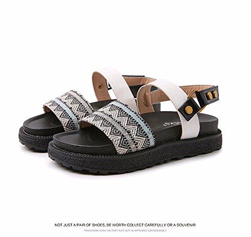 verde vento scarpe spessa retrò selvatici nazionale romane sandali piatte chiusura ShangYiModa scarpe qwPFYnxan