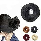 FESHFEN Scrunchy Scrunchie Hairpieces Elastic Messy Hair Bun Ponytail Hair Extensions Wig Drawstring-1# Black