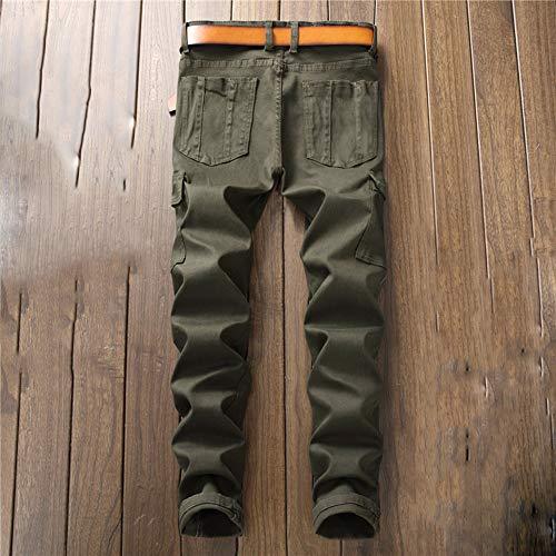 Slim Stile Dritti Autunno E Lan Inverno Jeans Hu New Uomo Wai Shuo Green Fit Da 1v04qSxw