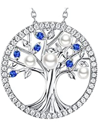 September Birthstone Sapphire & Pearl Necklace The Tree...