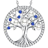 Elda&Co The Tree Life Love Pendant Sterling Silver Jewelry September Birthstone Created Blue Sapphire June Birthstone Pearl Necklace Jewelry Birthday Gifts Her Women Family