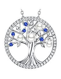 The Tree of Life Created Sapphire Necklace Sterling Silver Pearl Jewelry Birthday Gift for Her