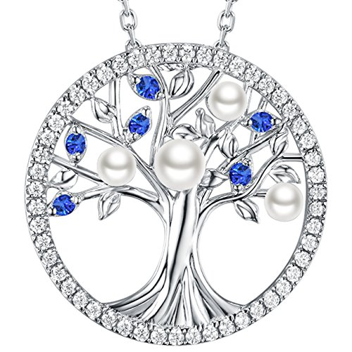 Elda&Co The Tree of Life Love Pendant Sterling Silver Jewelry With Created Blue Sapphire September Birthstone June Birthstone Pearl Necklace Jewelry Birthday Gifts for Her Women Family - Mother Of Pearl Sapphire Necklace