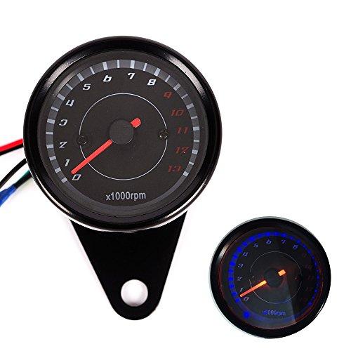 LED Backlight Motorcycle Meter Tachometer Gauge Rev Counter 0-13000 RPM black ()