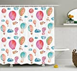 Ambesonne Watercolor Shower Curtain, Hand Painted Style Cute Floating Hot Air Balloons with Blue Clouds Print, Fabric Bathroom Decor Set with Hooks, 70 Inches, Blue Pink Coral