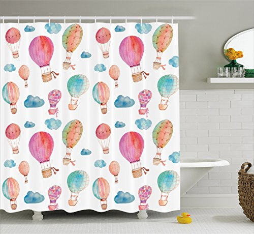 Painted Bed Hand Set (Ambesonne Watercolor Shower Curtain, Hand Painted Style Cute Floating Hot Air Balloons with Blue Clouds Print, Fabric Bathroom Decor Set with Hooks, 70 Inches, Blue Pink Coral)